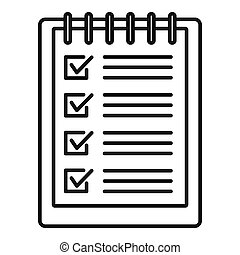 Notebook checklist icon, outline style