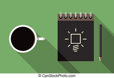 Notebook, coffee and idea