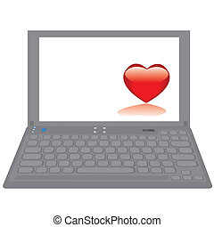 Notebook computer with red heart on a desktop