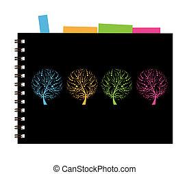 Notebook cover design, art tree