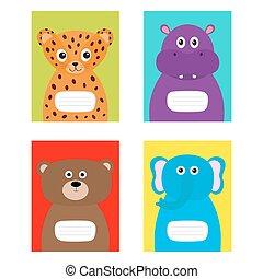 Notebook cover Jaguar, hippopotamus, elephant, bear. Zoo animal face body. Cute cartoon character set Baby children education. Flat design. White background. Isolated