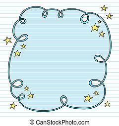 Notebook Doodle Cloud Frame Vector