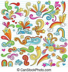 Notebook Doodle Design Elements Set - Psychedelic Groovy...