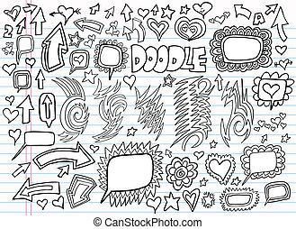 Notebook Doodle Design Vector set