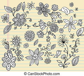 Notebook Doodle Flower Vector Set