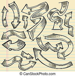 Notebook Doodle Sketch Arrow set