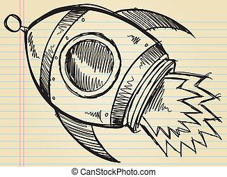 Notebook Doodle Sketch Cute Rocket