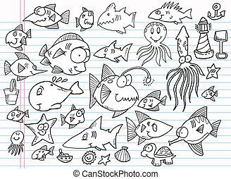 Notebook Doodle Summer Ocean set