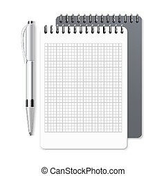 Notebook, empty spiral notepad and pen vector template for corporate identity