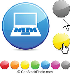 Notebook glossy button.