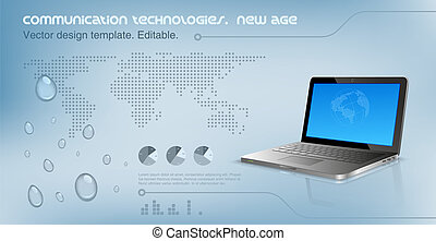 Laptop on the glossy hi-tech background. Logo copyspace. World map on the background. Future technology concept. Design template. Vector. Editable.