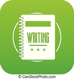 Notebook icon green vector