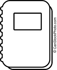Notebook icon, outline line style