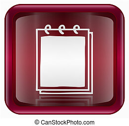 Notebook icon red, isolated on white background