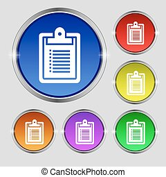 notebook icon sign. Round symbol on bright colourful buttons. Vector