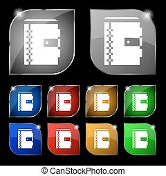 notebook icon sign. Set of ten colorful buttons with glare. Vector
