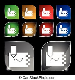 notebook Icon sign. Set of ten colorful buttons with glare. Vector sign. Set of ten colorful buttons with glare. Vector