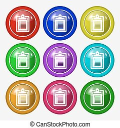 notebook icon sign. symbol on nine round colourful buttons. Vector