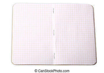notebook in a cage isolated on white background