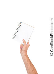 notebook in hand