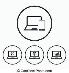 Notebook laptop pc icons. Repair fix service.