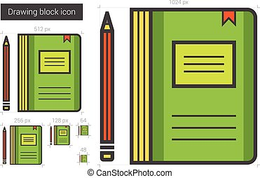Notebook line icon.