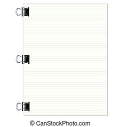 Notebook lined paper sheet with metallic clip isolated