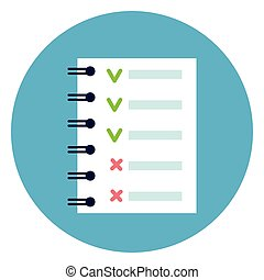 Notebook List With Green and Red Tips Check Points Icon Round Blue Background