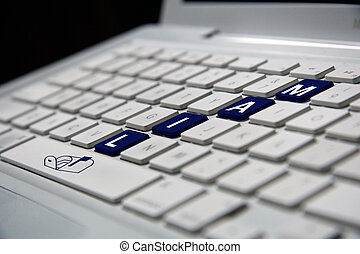notebook mail - white notebook keyboard with blue mail...