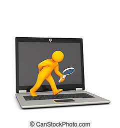 Orange cartoon character with loupe and notebook, on the white background.
