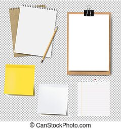 Notebook Mockup And Paper Set Isolated Transparent Background