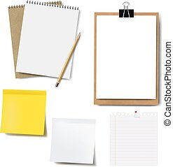 Notebook Mockup And Paper Set Isolated