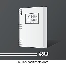 notebook mockup color white icon