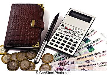 Notebook, Money, pen and calculator