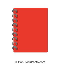 notebook notepad spiral red isolated