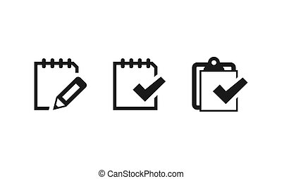 Notebook notes icons set. Vector EPS 10