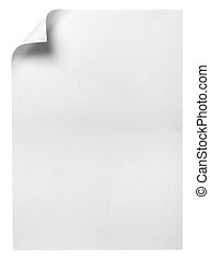 notebook office blank paper with curl - close up of note...