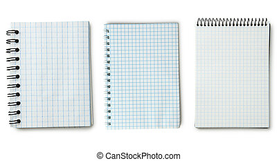 Notebook on a white background, collage