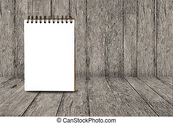 Notebook on Abstract wooden background