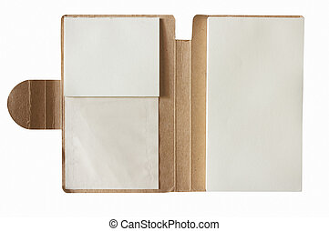 Notebook on white background.
