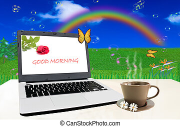Good Morning, - Notebook on white table with Good Morning,