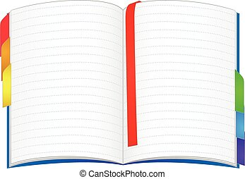 Notebook - Open notebook with colorful bookmarks