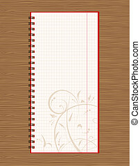 Notebook open page design on wooden background