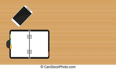 Notebook open with pen and smartphone HD animation