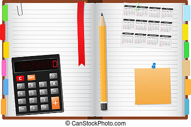 Opened notebook with pencil, calculator, calendar and post-it note