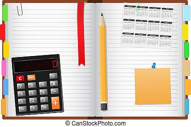 Notebook - Opened notebook with pencil, calculator, calendar...