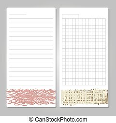 Notebook page templates with paper for notes, memos, checklist