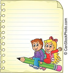Notebook page with school kids