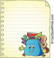 Notebook page with schoolbag 2 - eps10 vector illustration.