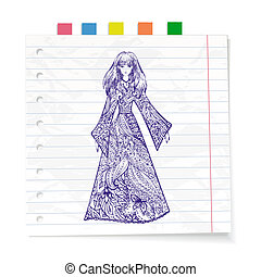 Notebook paper doodles girl